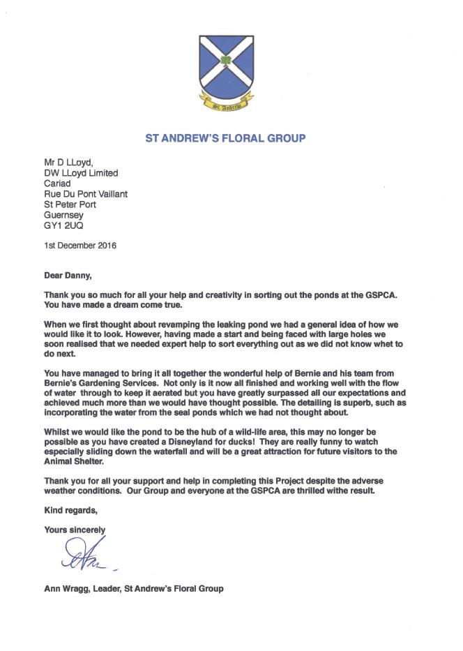 GSPCA Thankyou Letter