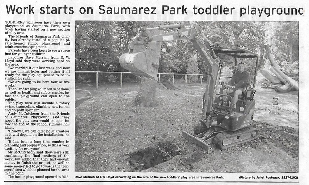 Work Starts On Saumarez Park Toddler Playground